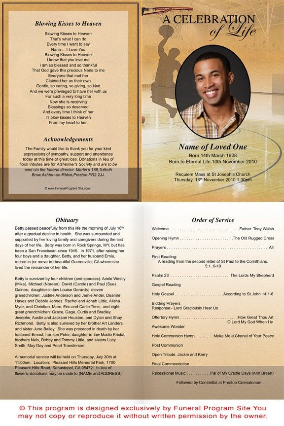 Basketball Funeral Program Template Theme | Basketball Funeral ...