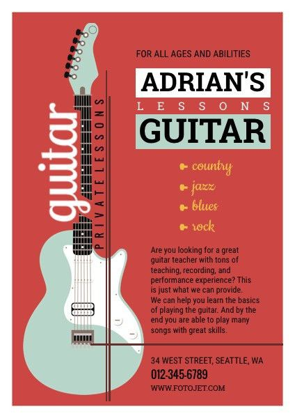 Guitar Lesson Promotional Flyer Design Template Template | FotoJet