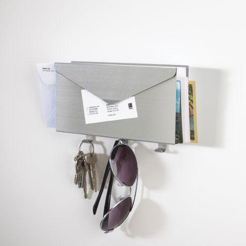Umbra Lettro Wall Mount Letter Holder Brushed Aluminum Mail ...