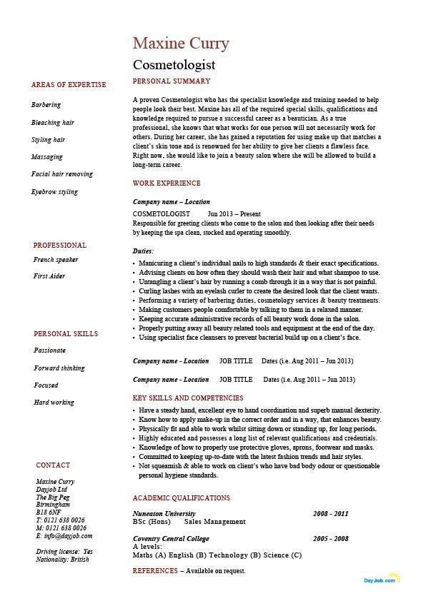 Cosmetology resume, cosmetologist, hair, skin, example, job ...