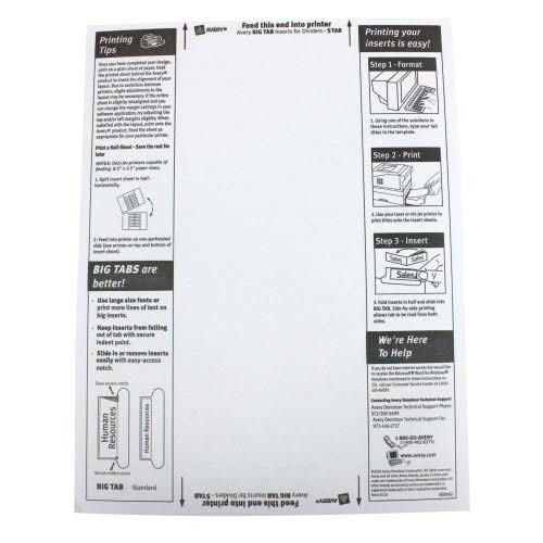 Avery Tab Inserts Template. ali edwards design inc index tabs ...