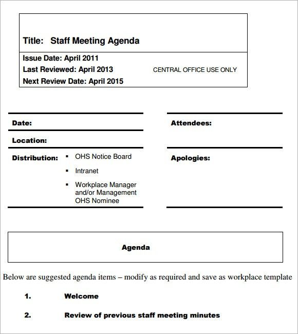 Agenda Template. Meeting Minutes Actions And Agenda Template Free ...