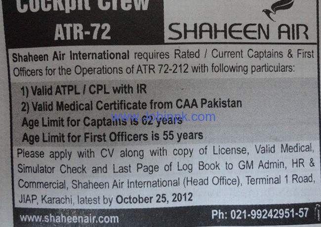 Shaheen Airlines Job, Cockpit Crew ATR-72, Airhostess, First Officer