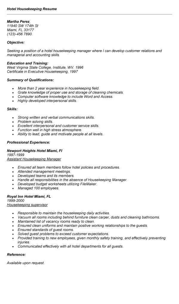 Free Download Hotel Housekeeping Room Attendant Resume Example ...