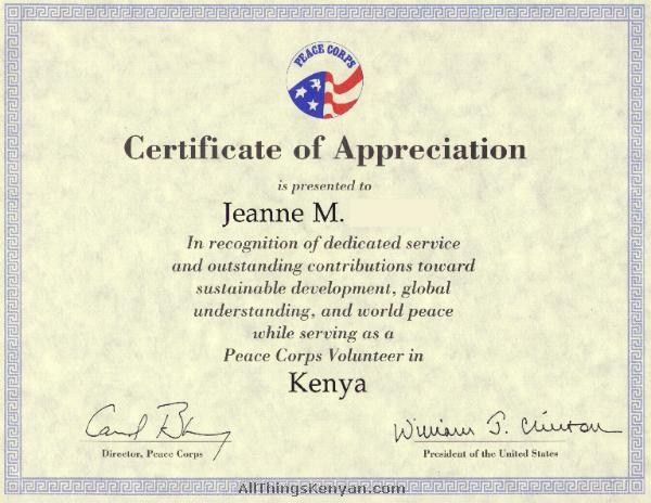 US Peace Corps ID - Pictures From Kenya - All Things Kenyan