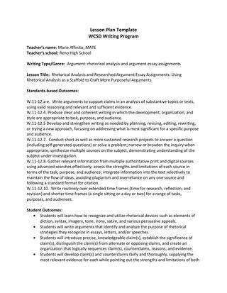 Rhetorical Analysis and Researched Argument Essay Assignments by ...
