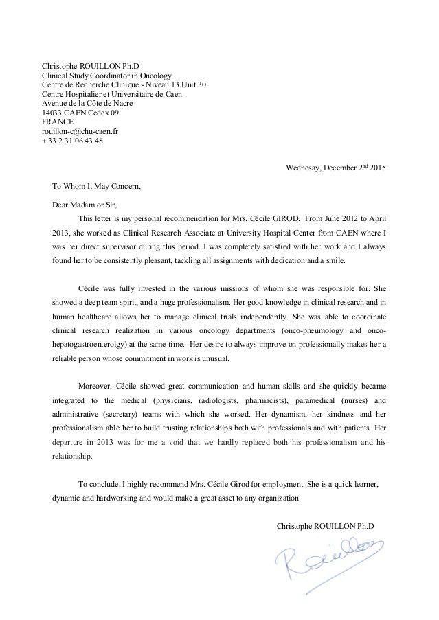 Recommendation letter Caen University Hospital