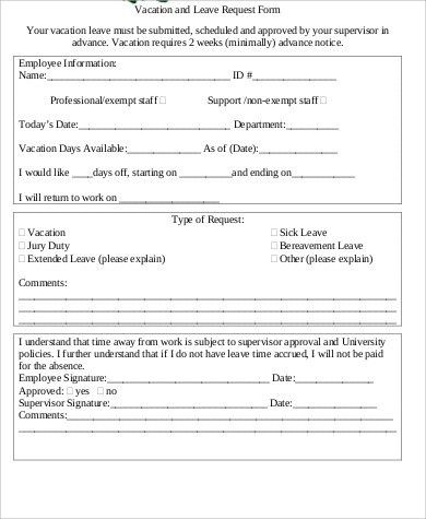 Sample Leave Request Form - 8+ Examples in Word, PDF