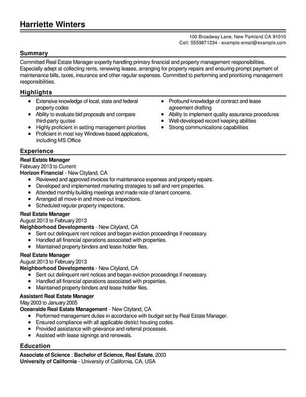Real Estate Combination Resume - Resume Help