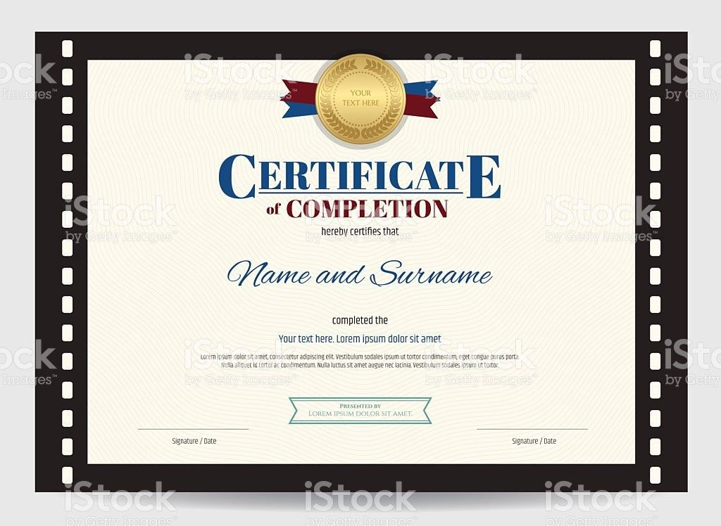 Certificate Of Completion Template With Movie Film Border stock ...