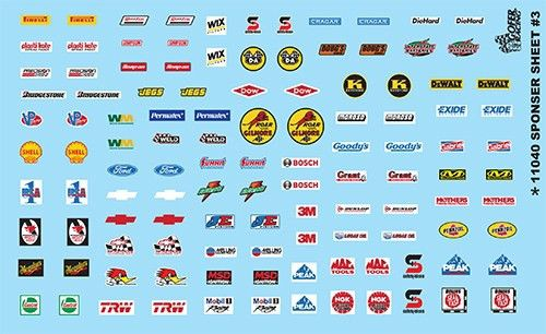 Contingency Sponsor Sheet #3 Decal Sheet Model Car Decals 1/24 1 ...