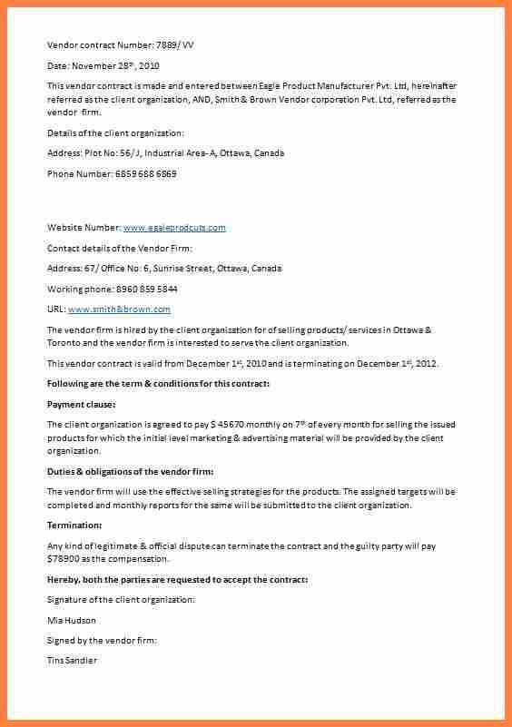 9+ vendor contracts   Invoice Example 2017