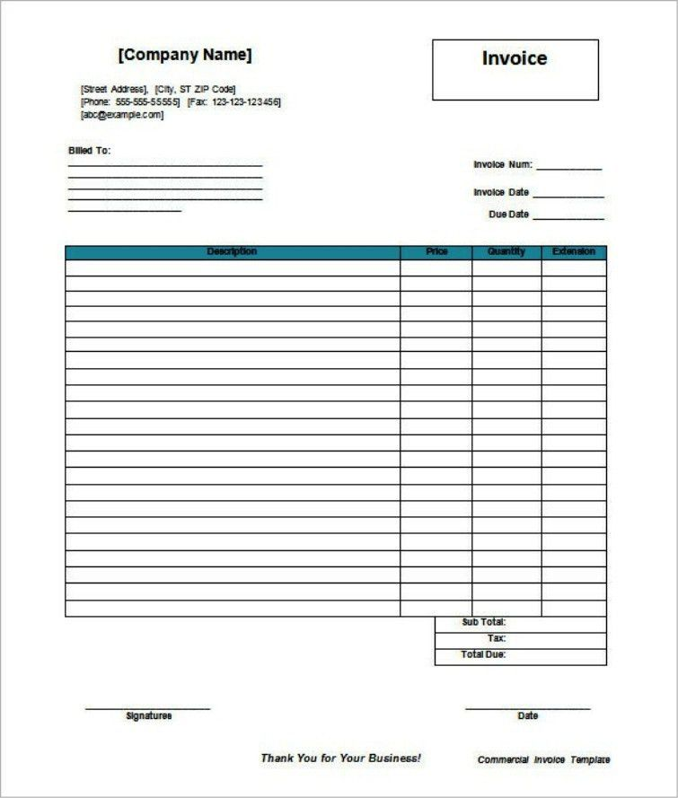 Blank Commercial Invoice Template in MS Word | TemplateZet