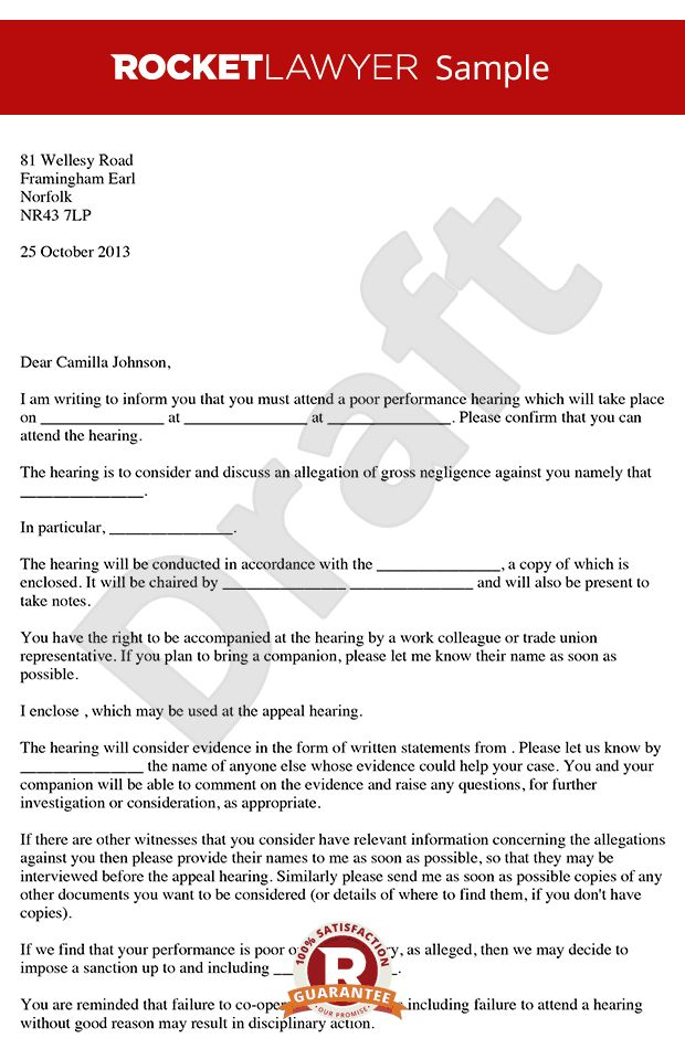 Performance Hearing Letter - Invitation to Poor Performance Hearing