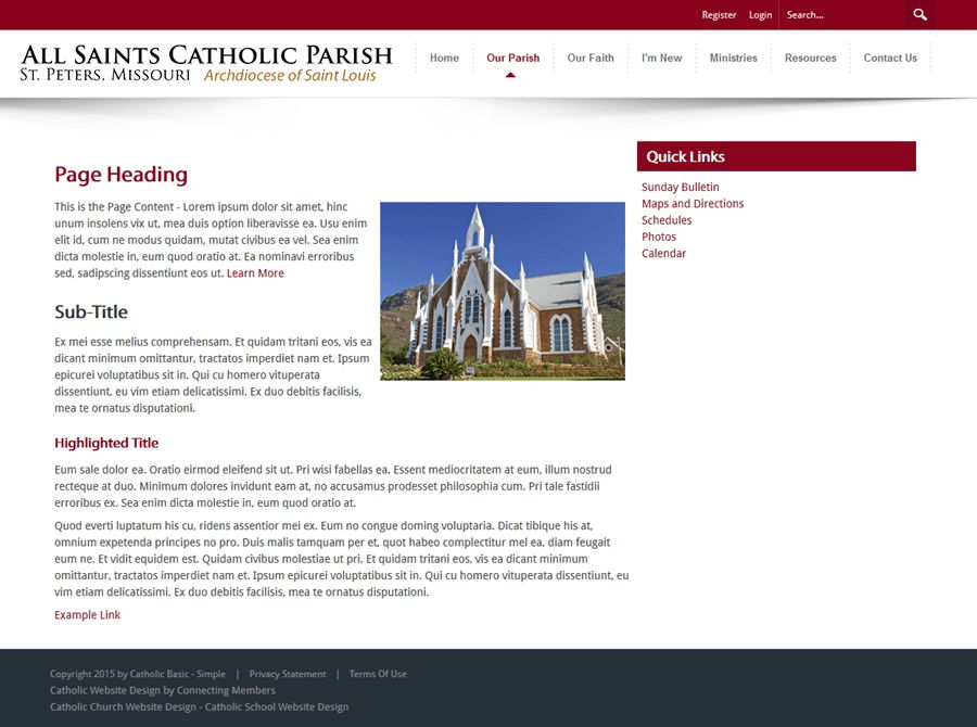 Catholic Church Website Template - Simple