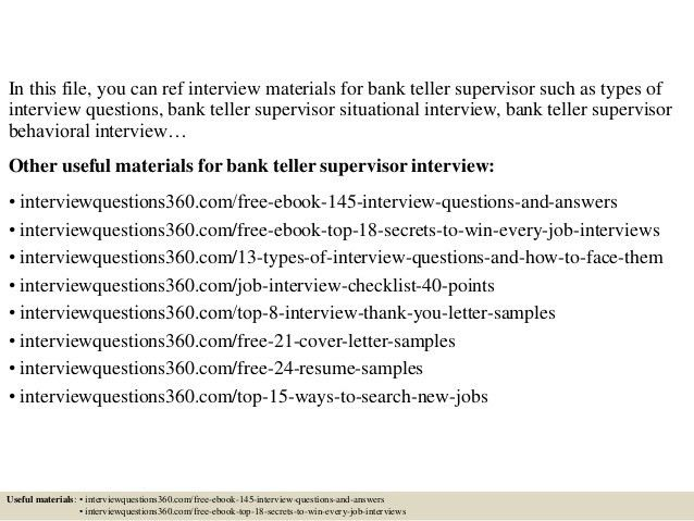 teller supervisor job description