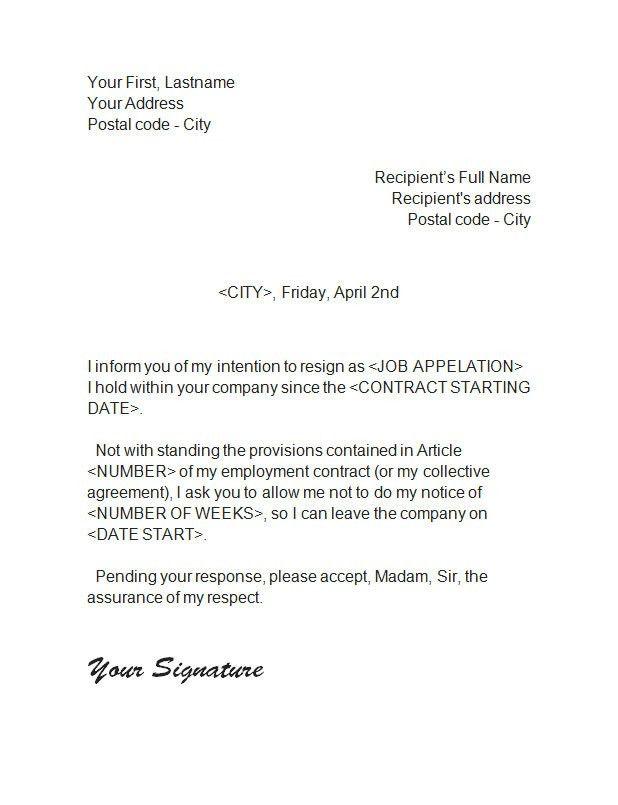 9 Best Images of Employee Notice Of Resignation - Employee ...