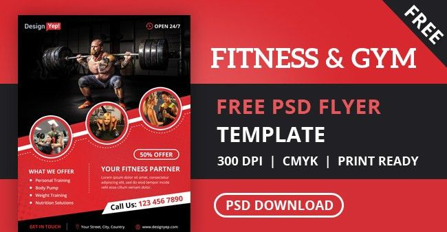 Free Fitness Gym Flyer PSD Template - DesignYep