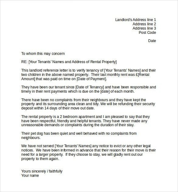 Example Landlord Reference Letter Uk - Mediafoxstudio.com