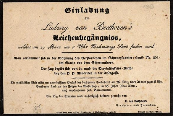 Invitation to Beethoven's funeral, March 1827 | Beethoven: in a ...
