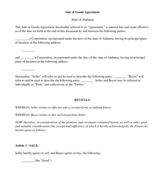 Sale of Goods Agreement - Template - Word & PDF