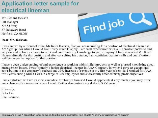 Electrical lineman application letter