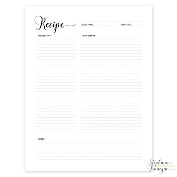 Recipe Page Recipe Printable Recipe Card Recipe Template