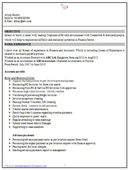 resume format for freshers chartered accountants