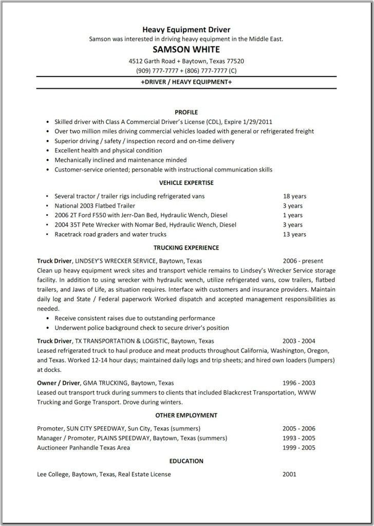 Route Sales Driver Resume Samples. truck driver resume template ...