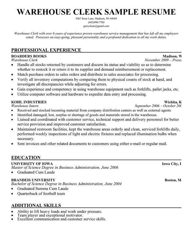 resume for warehouse position - Funfpandroid