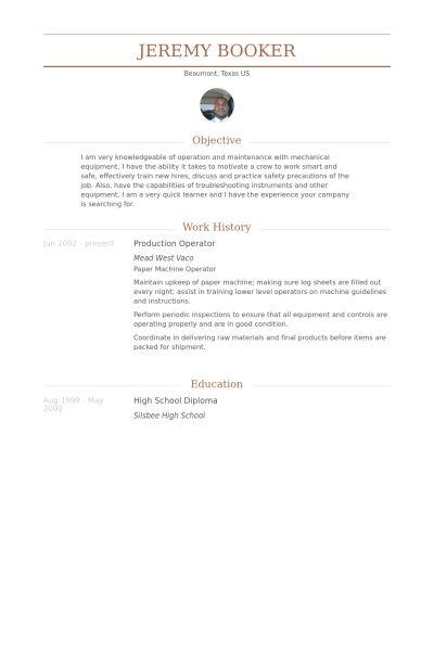 Production Operator Resume samples - VisualCV resume samples database