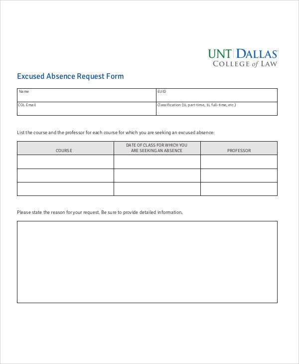 Sample Absence Request Form - 11+ Examples in Word, PDF