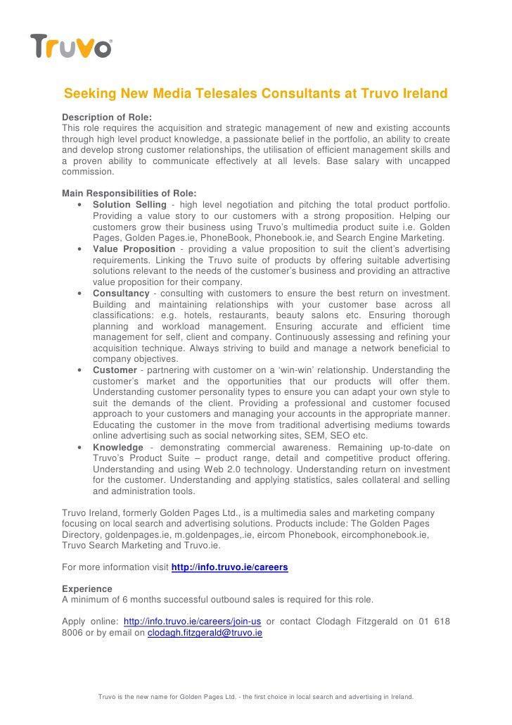 Truvo New Media Telesales Consultant Job Description
