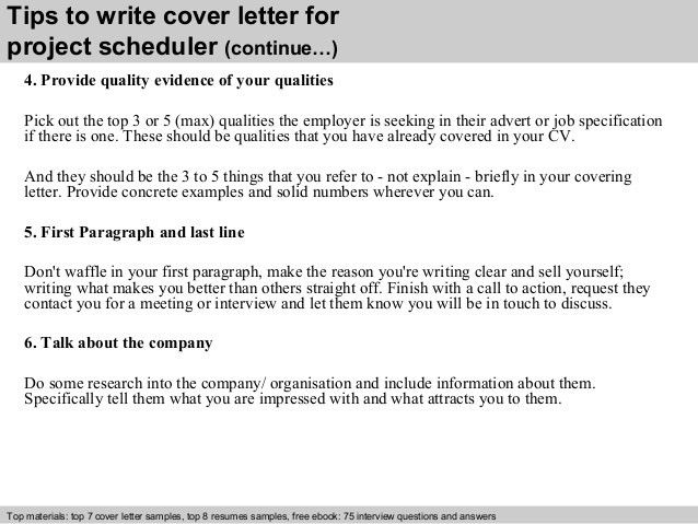 Project scheduler cover letter