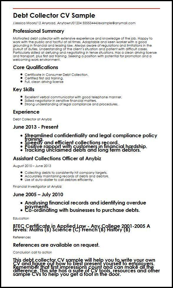 Debt Collector CV Sample | MyperfectCV