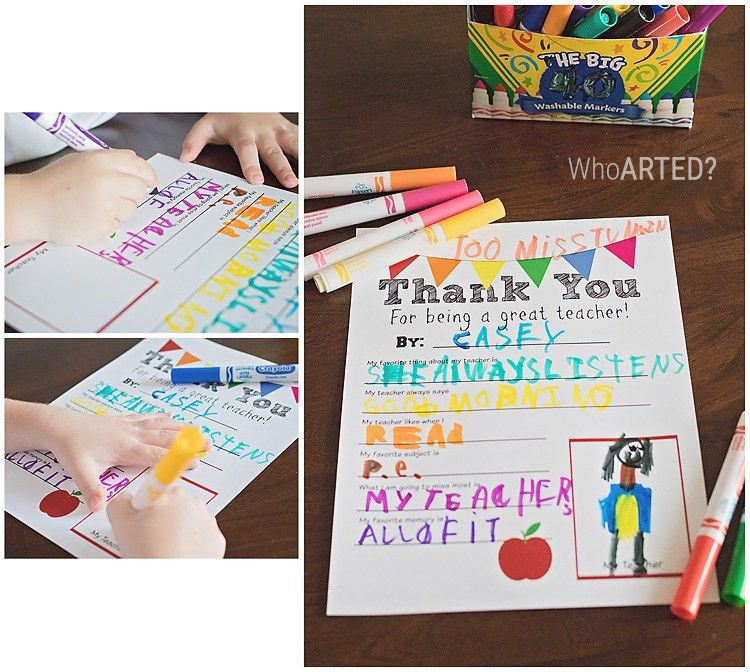 Teacher Appreciation Thank You Letter {printable} - Who Arted?