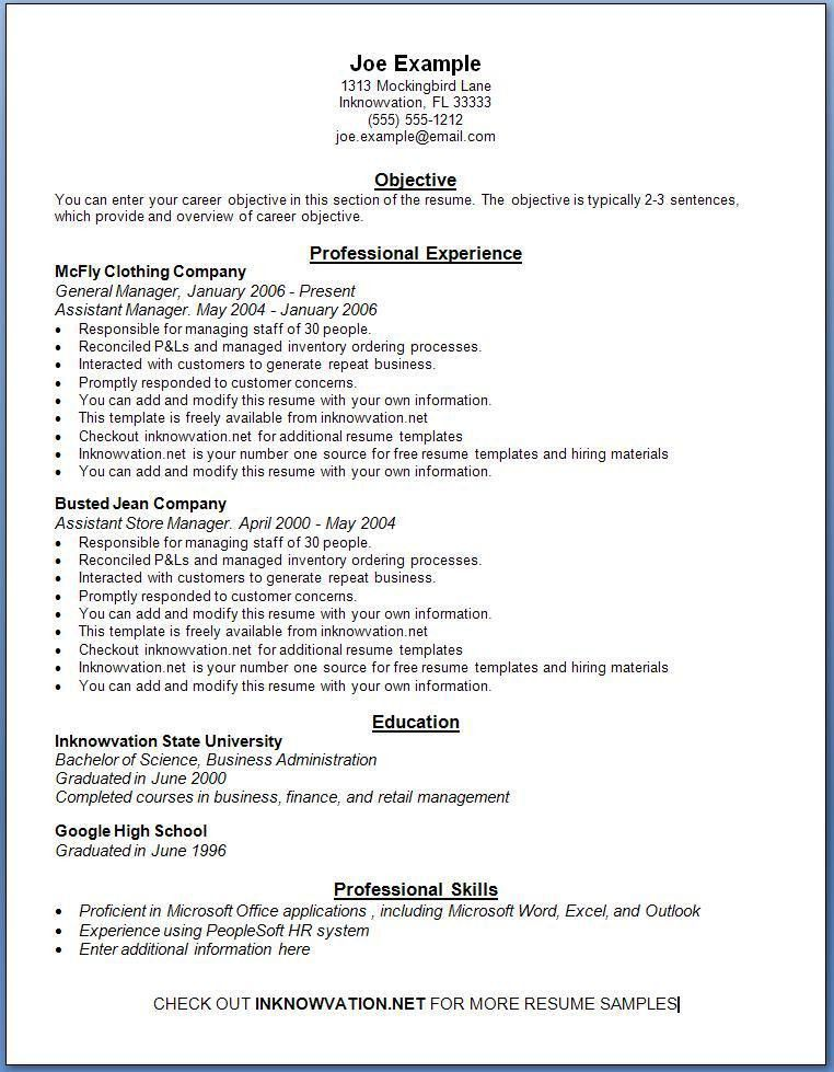 Free Online Resume Templates For Word. Professional Resume Builder ...
