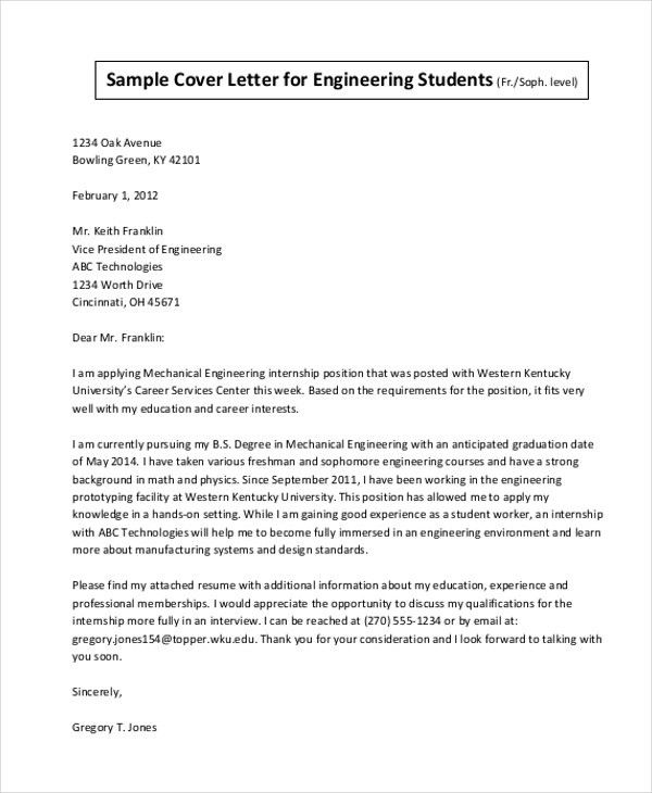 Sample Cover Letter For Internship - 9+ Free Documents in Doc, PDF