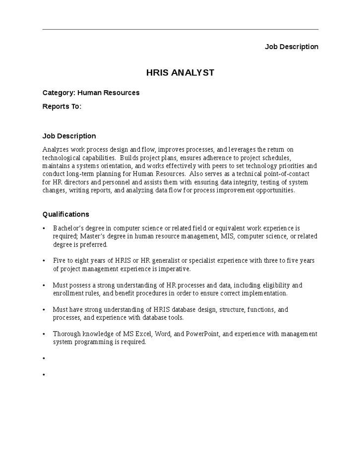 HRIS Analyst Job Description - Hashdoc