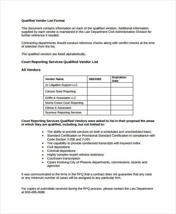 Vendor List Template - 8+ Free Word, Excel, PDF Document Downloads ...