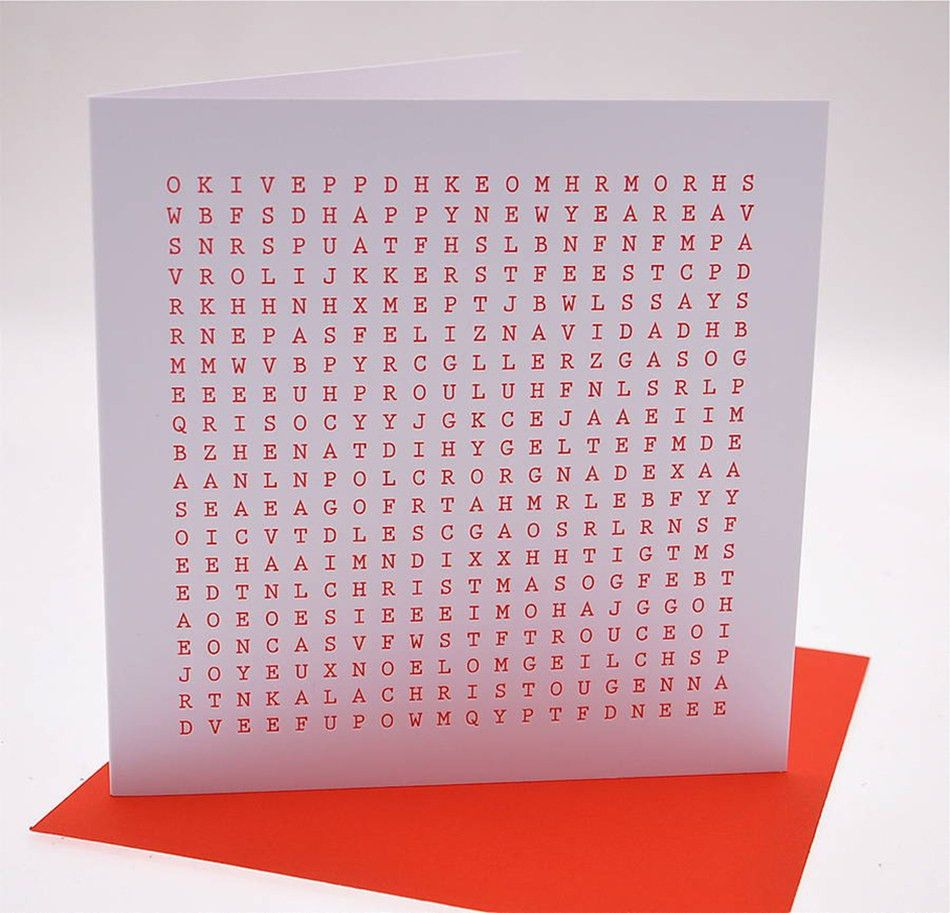 Word Search Christmas Card - International — IDENTITY PAPERS