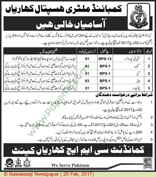 Cmh Kharian Cantt Jobs on 20 February, 2017 | PaperPk.com