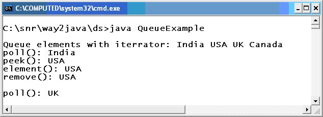 Offer Poll Peek Remove Elements Java