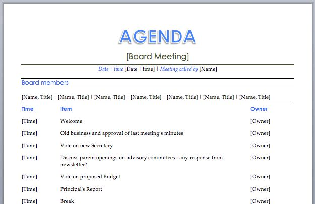 Printable Agenda Board Meeting Template Word Sample with Board ...