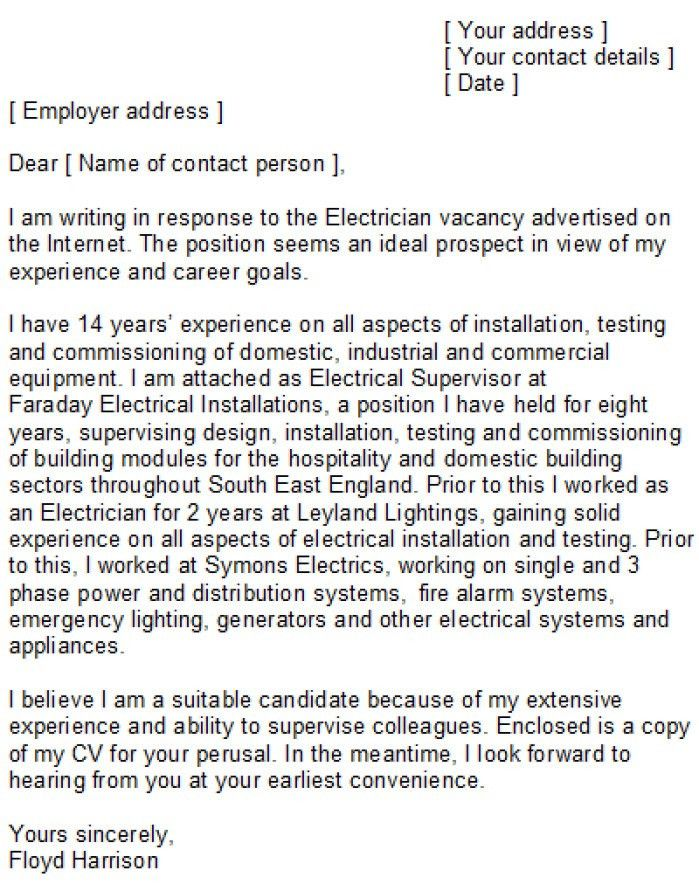 Cover Letter Electrician