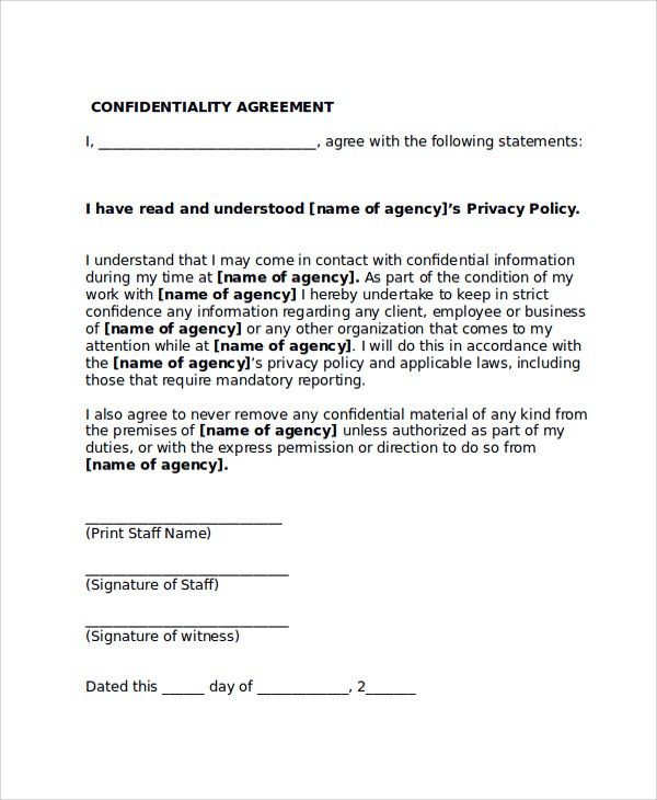 Sample Confidentiality Agreement Form   8+ Documents In PDF, WORD