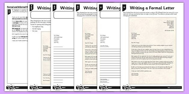 Writing a Formal Letter Differentiated Activity Sheet Pack