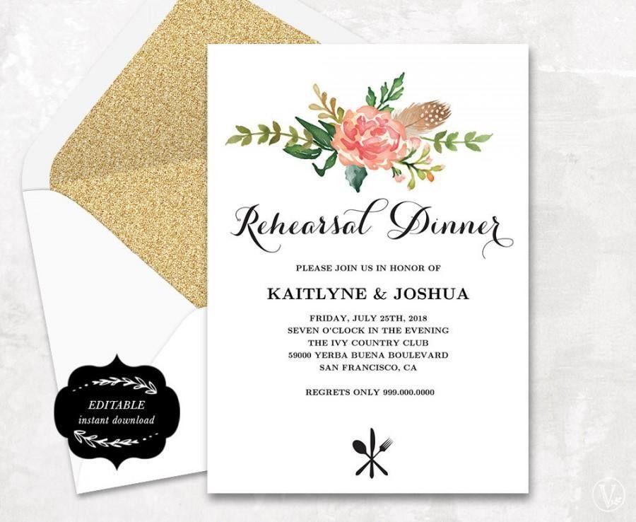 Printable Rehearsal Dinner Invitation Card Template, Floral Boho ...