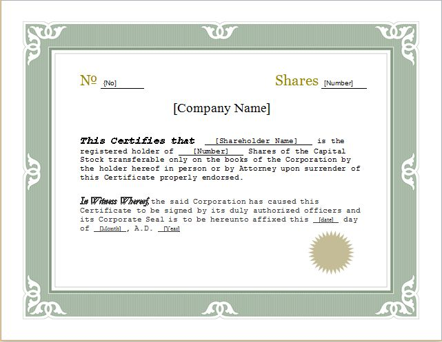 Customizable Stock Certificate Template for WORD | Document Hub