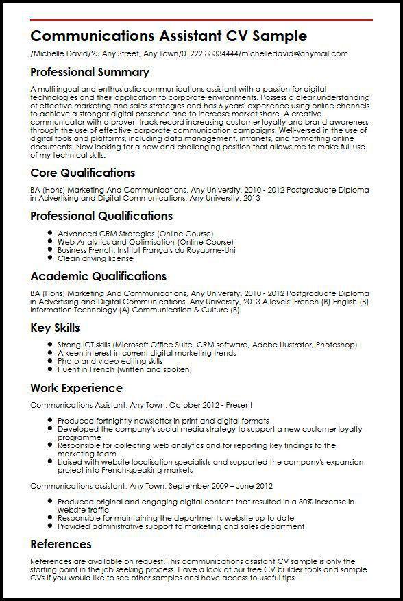 Communications Assistant CV Sample | MyperfectCV